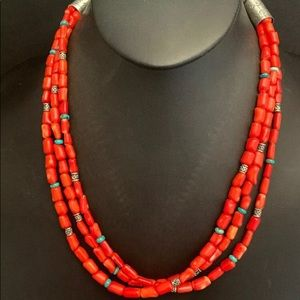 Jewelry - Sterling Silver 3 Strand Orange Coral BeadNecklace